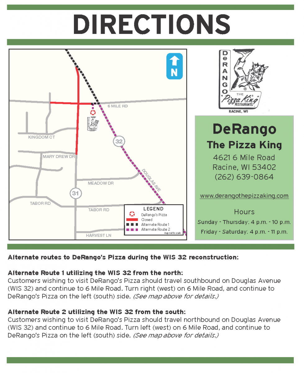 Directions to DeRango's due to construction